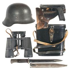 Nazi Occupation FN Model 1922 Pistol with Helmet, Bayonet and Binoculars
