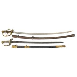 Civil War Model 1850 Foot Officer's Sword and Roby Model 1860 Light Cavalry Saber