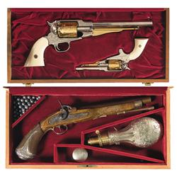 Cased Engraved Officer and Gentleman Percussion Revolvers and One Pistol