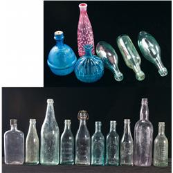 Four Fire Grenades, Two Decorative Bottles, and Ten Antique Glass Whiskey, Beer and Soda Bottles