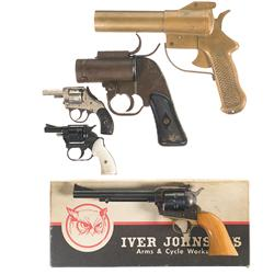 Three Revolvers and Two Flare Pistols