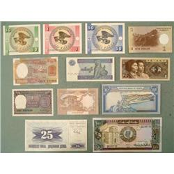 Large Lot 12 Uncirculated World Bank Notes Bills