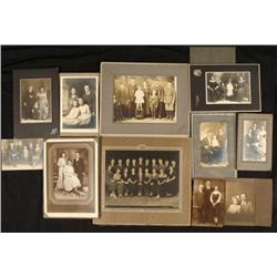 11 Antique Portrait Photographs 1900s Groups Families