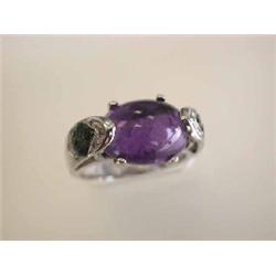 14kw Gold Ring with Amethyst, Sapphire and Diamonds