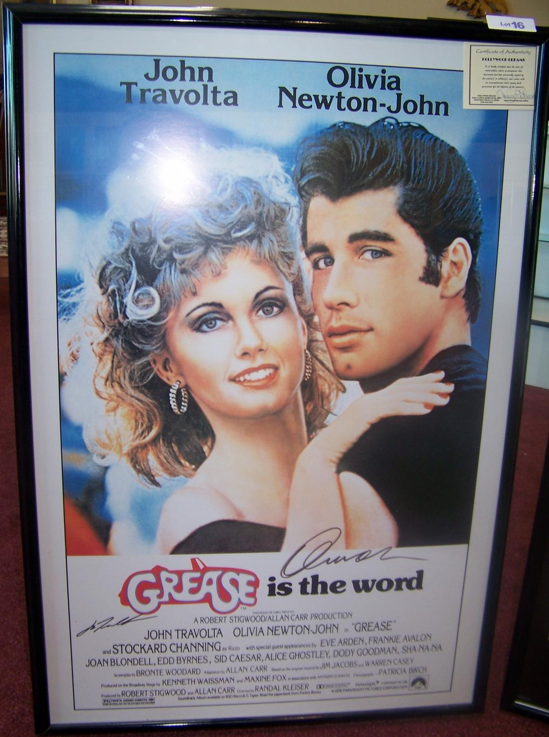 original grease movie poster signed by john travolta