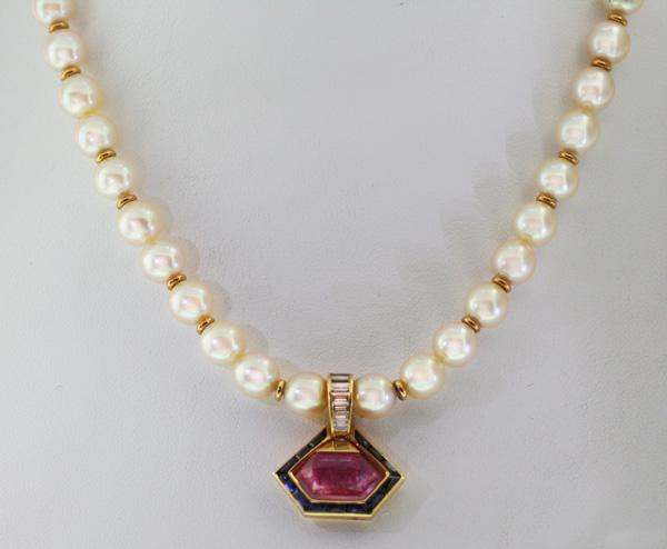 Bulgari italy pearl necklace with pink tourmaline and sapphire pendant image 1 bulgari italy pearl necklace with pink tourmaline and sapphire pendant aloadofball Gallery