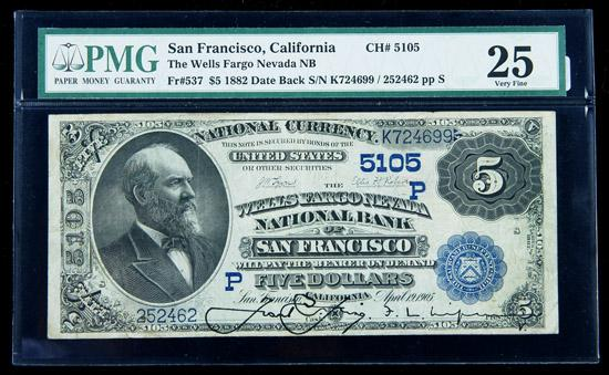 Image 1 1882 5 National Bank Note The Wells Fargo Nb San