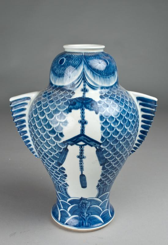 A Chinese Blue White Fish Shaped Vase