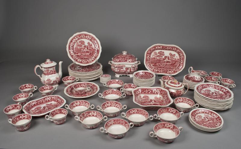 (83) Piece Spode Pink Tower China Set. Loading zoom & 83) Piece Spode Pink Tower China Set
