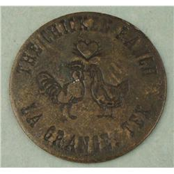 Rare Late 1800s Chicken Ranch Brothel Token -All Night