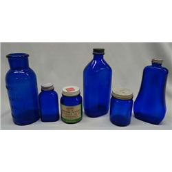 5 Vintage Cobalt Blue Glass Bottles