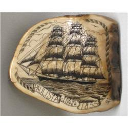 Scrimshaw on Fossilized Ivory Belt Buckle