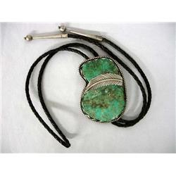1940s Native American Navajo Bolo Silver w/Large Turquoise Stone