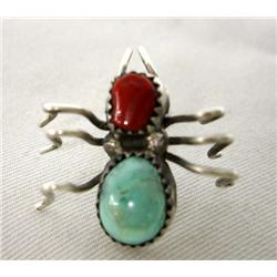 Native American Navajo Spider Pin Turquoise Coral Sterling