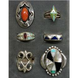 Native American Zuni & Navajo Silver Rings Some w/Hallmarks