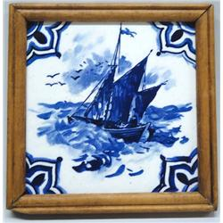 Wooden Framed Blue & White Delft Tile