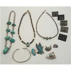 Collection of Native American Navajo Silver Turquoise Jewelry