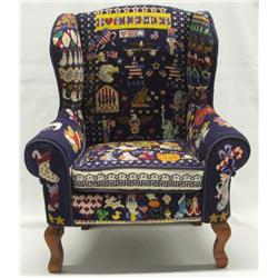 Americana Cross-Stitch Wingback Doll's Chair