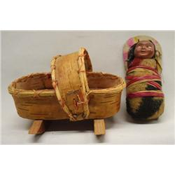 Native American Ojibwa Cradle & 1960 Skookum Doll