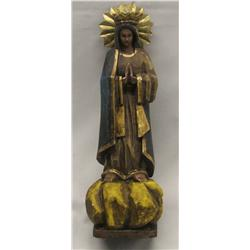 Carved Wooden Bulto Virgin Mary