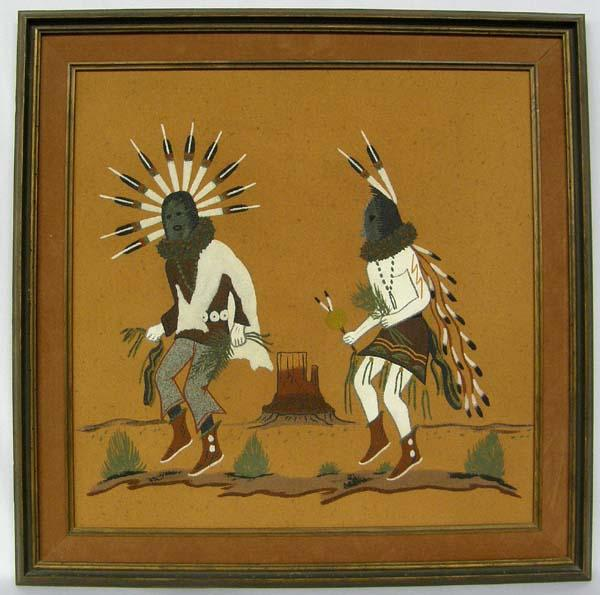 Native American Navajo Sand Painting Signed Alfred Watchman Sr