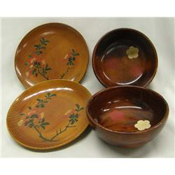 1960's Japanese Lacquerware 2 Plates 2 Bowls