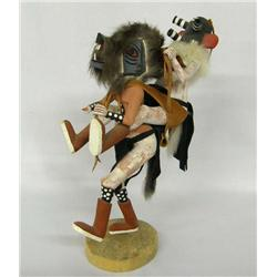 Native American Double Kachina, Grey Wolf and Mocking