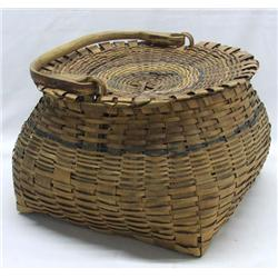 Native American Great Lakes Lidded Basket