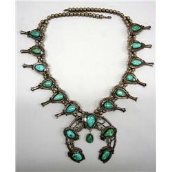 Native American Navajo Squash Blossom Necklace Natural Turquoise