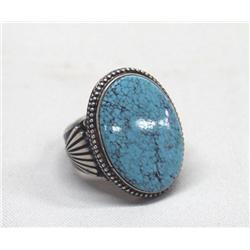Native American Navajo Silver & Turquoise Ring by Steve Russo