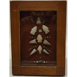 Framed Native American Arrowhead Display With 9 Points Plus Beads