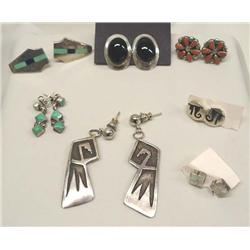 7 Pair Native American Navajo Zuni Silver Pierced Earrings