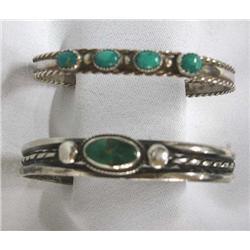 Pair of Vintage Native American Turquoise & Silver Bracelets