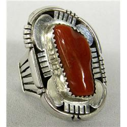 Native American Navajo Silver and Coral Ring