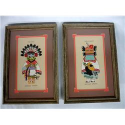 2 Framed and Matted Cross Stitched Kachina Figures