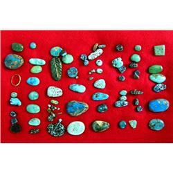 Collection of 77 Turquoise Cabochons and Pieces