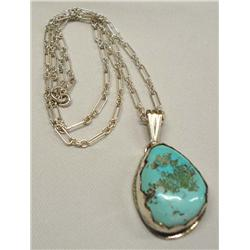 Native American Navajo Silver And Turquoise Necklace Hallmark