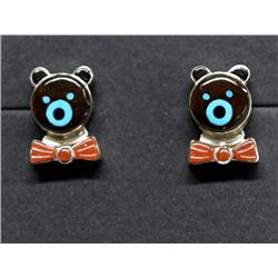 Native American Zuni Bear Earrings Jet, Coral, Turquoise, Silver
