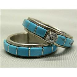 Native American Zuni Turquoise Silver & CZ Wedding Set by MJS