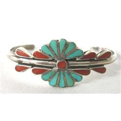Vintage Native American Zuni Silver Turquoise Child's Bracelet