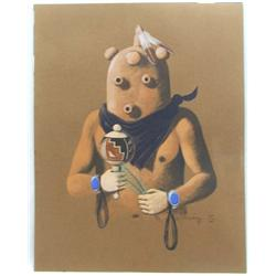 Original Native American Navajo Fred Cleveland Painting of Mudhead
