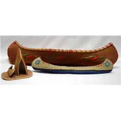 3 Bark and Leather Canoe & Tipi Models - Bark & Leather