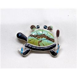 Native American Zuni Silver Turquoise Jet Turtle Pin by V Comosana