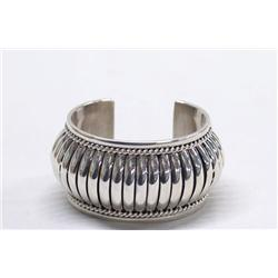 Native American Navajo Sterling Silver Bracelet by Tom Charley