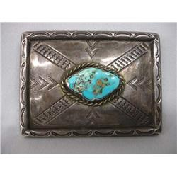 Native American Navajo Heavy Silver Turquoise Buckle