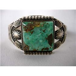 Native American Navajo Red Mountain Turquoise Bracelet by K Smith