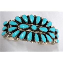 Native American Zuni Turquoise Silver Bracelet by P. Jones