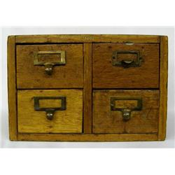 Antique Globe Wooden Library Card Catalog