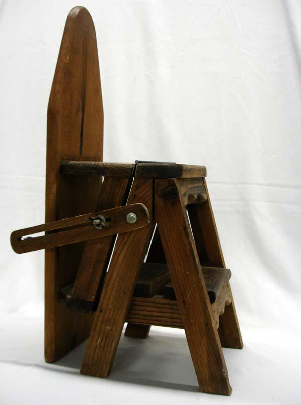 ... Image 3 : Antique Saleman's Sample Wood Ironing Board Ladder - Antique Saleman's Sample Wood Ironing Board Ladder