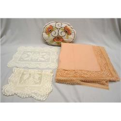 Lace Doilies, Table Cloth, Embroidered Pillow